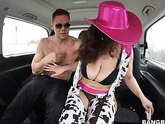 Hot Sarah with huge tits shakes her big booty on Bang Bus