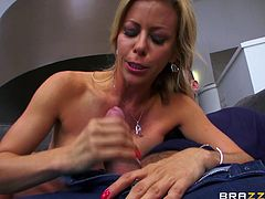 This blonde bitch with red-polished nails is hungry for cock, as you can see from the greedy way she's sucking dick and balls. Naughty Alexis has fantastic big boobs and a perfectly-shaped body. Watch her fucking hard!
