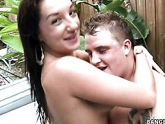Brunette hussy Cate Harrington takes dudes cum loaded man meat in her hot mouth