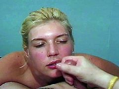 Amateur cock sucking blonde bitch has sex on camera for the first time