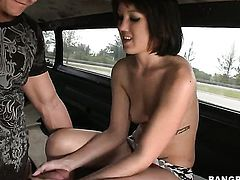 Brunette with juicy ass just loves to suck and cant say No to her hard cocked fuck buddy