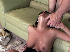 Slutty cougar gags herself on this guy's thick cock