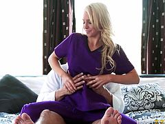 Danny was hired by Alix to be her masseur and help her relax. From the looks of things, it is hard to tell who is actually giving the massage here. It seems to be mutual, with her riding him for a bit, before getting her tits and ass oiled nicely. He uses a finger massage in her wet pussy, making her moan.
