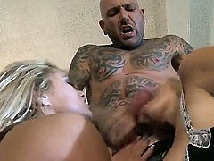 Horny heavily tattooed guy spends evening in the bedroom with two huge titted blonde MILFs Devon Lee and Shyla Stylez. Hot women suck his pole together and get their dripping wet cunts rammed.