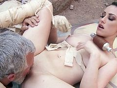 Pretty babe Jennifer White with beautiful natural tits and shaved snatch gets naked and spread her legs in front of silver haired older man for anal in outdoor scene from Star Wars XXX parody.
