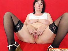 Vag gape, nylons, a fat milf named Blanka and fantastic solo scenes in a mom solo video that is all about lust