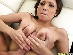 Brunette satisfies her sexual needs with dudes dick in her mouth