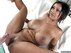 Brunette senora Priya Rai with round bottom has fire in her eyes as she enjoys fucking