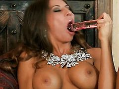 Alluring woman Madison Ivy with giant breasts and bald twat displays her body parts before she plays with herself