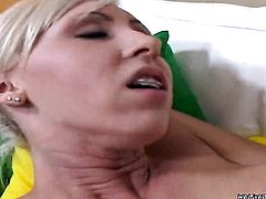 Blonde hooker Jane with phat booty and hairless bush playing with sex toy