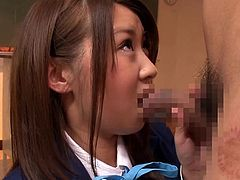 She wants to study, but the teacher want to fuck. He walk in the room and undresses. The schoolgirl is embarrassed, and she has to stare at his penis. After playing with her tits, the teacher makes the student suck on his cock.