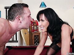 Keiran Lee gets turned on by Lezley Zen with giant boobs and then bangs her mouth