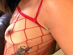 Sexy white babe Kelsi Monroe in red fishnet bodystocking shows off her bubble butt as she gives interracial blowjob to big dicked black guy Lexington Steele in the middle of the kitchen.