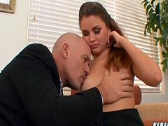 Sexy office slut Allie Haze talks her boss into licking her sweet pussy
