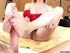Redhead harlot Dani Jensen with big booty gets penetrated silly by sex obsessed man