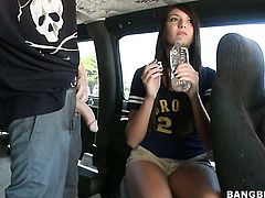 Brunette Cassandra Nix with bubbly butt makes her sex partner squirt the load out in steamy sex action
