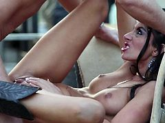 Slim brunette MILF Nikki Daniels with beautiful natural tits and tight pussy gives headjob and gets banged outdoors. She gets her snatch licked and fucked by a truck.