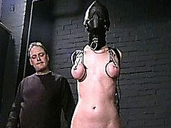Sensory deprived slaveslut Cherry Torns leather fetish