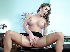 Sammi Tye with juicy tits and smooth snatch finds herself horny as hell and takes dildo in her muff