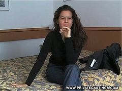 Patricia Smet sits on the casting couch and after answering a few questions she stands up and strips down to her bare skin. Afterwards she appears in a hardcore scene with two men and she is very sure of herself as she takes them both on. Her beautiful and piercing eyes make her a memorable girl.