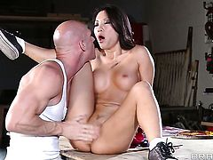 Johnny Sins gets turned on by Asa Akira and then drills her mouth