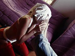 Mystery Girl in red stockings wears a kind of mask as she licks John Strongs feet and asshole. Sexy Mystery Girl gets humiliated for your viewing pleasure. Enjoy!