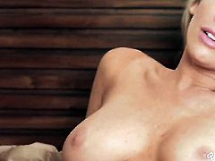 Anna Morna with small boobs and clean beaver fucks herself to orgasm in solo action