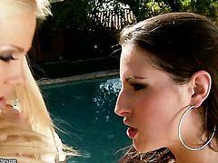 Blonde Sandy with gigantic tits and Kortney Kane enjoy another lesbian sex session for the camera