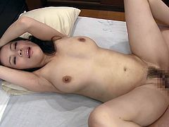 Kyoko gets her man nice and stiff, by sucking on his rod. Look at her work on his shaft. The super sexy slut lays back and lets him slide his hard member in between her beautiful Japanese tits. She uses his hairy bush to ride his hard erection.