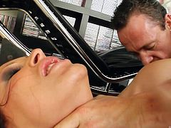 Slutty Mandy is so horny! After sucking with fervor her partner's cock, this hot milf with unbelievable big tits, stuffs her cunt with a kinky dildo. Most of all, the lustful brunette enjoys to be pounded hard from behind. Click to watch the spicy scenes...