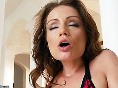 Brunette Sophie Lynx having oral fun with horny guy