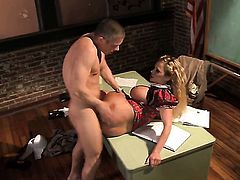 Well-endowed tart Shyla Stylez with huge hooters does lewd things and then gets her pretty face covered in jizz