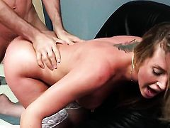 Samantha Saint gets her hands used by horny hard-cocked dude