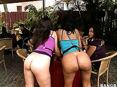 Lacey Duvalle with round bottom and Kristina Rose both have fierce appetite for lesbian sex