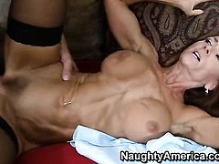 Janet Mason with big melons offers her bush to Chad Alva