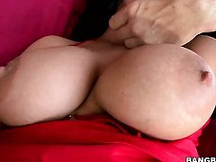 Brunette Marilyn Scott with big booty gets her pretty face dreamed in jizz on camera for your viewin