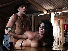 Dangerously seductive sweetie Savannah Stern with juicy jugs shows off her hot body while getting her mouth fucked by Keiran Lee