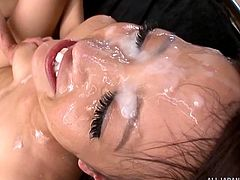 I rammed her so hard from behind. Miyu rode my cock and kissed me tenderly, but I couldn't hold back any longer. My friends joined in and spunked on her face, while she was having sex with me. She looked so lovely covered in hot sperm.