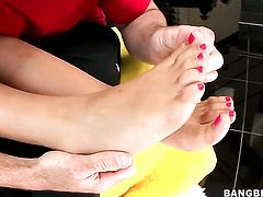 Blonde Bridgette B has fire in her eyes as she takes money shot on her eager face