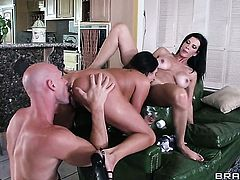 Johnny Sins gets his always hard man meat eaten by Shay Sights  Ariella Ferrera with juicy boobs before she gets cornholded