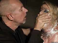 Blonde Anita Blue with juicy hooters gets her mouth attacked by guys meaty sturdy love stick