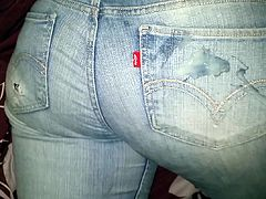 Cumming all over her jeans