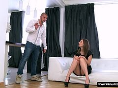 A cute girl named Alice is at a casting audition. After filling out a form and answering some questions, she strips out of her dress leaving only her panties on. She soon has the guys dick in her mouth and he's fucking her pussy from behind on the couch. He screws her ass before the facial cumshot.