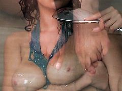 Tattoos Cassidy Banks with huge jugs and trimmed beaver gives a closeup of her snatch while masturbating with dildo
