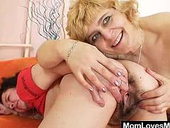 Old mother amateur madams one of them in addition to woolly vagina riding double sided sex toy