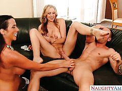 Joey Brass uses his rock hard rod to make Enchanting bombshell Julia Ann with gigantic hooters and smooth beaver happy