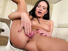 Subil Arch with tiny breasts and hairless muff gets the pleasure from pussy dildoing like never before