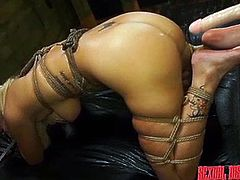 While hot Layla is tied with strong ropes and mouth gagged, a horny man turns his kinky plan into reality... Click to watch the blonde nude bitch, fucked hard, after her shaved appetizing cunt has been fingered deeply, and her ass stuffed with a huge dildo! Have fun and relax.