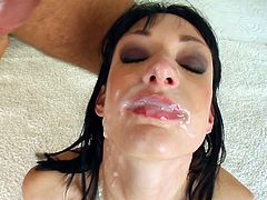 Wendy is another sexy bitch that loves doing blowbangs. Unlike most of them, she gets some pleasure for herself, as she offers her pussy to each of the guys for them to lick. Satisfied, she goes from guy to guy, sucking them deep and well, working until she gets their loads of spunk all over her face.