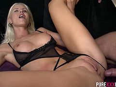 She is watching TV and he is horny to bang her brains out. Truth be told, she is hot as fuck and everybody would liuke to bang a hot Swedish blonde with an amazing body.